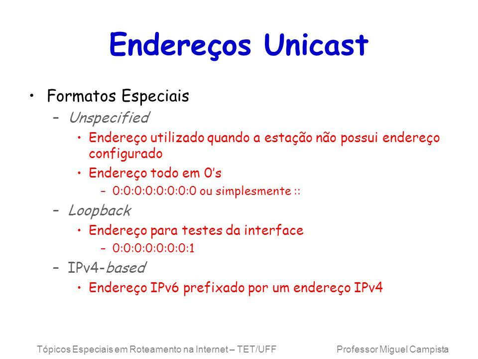 Endereços Unicast Formatos Especiais Unspecified Loopback IPv4-based