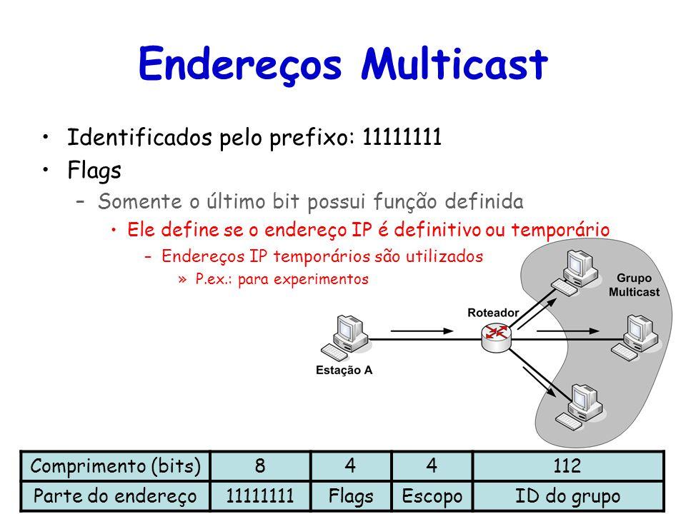 Endereços Multicast Identificados pelo prefixo: 11111111 Flags