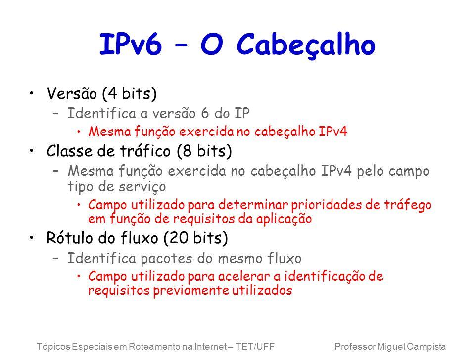 IPv6 – O Cabeçalho Versão (4 bits) Classe de tráfico (8 bits)