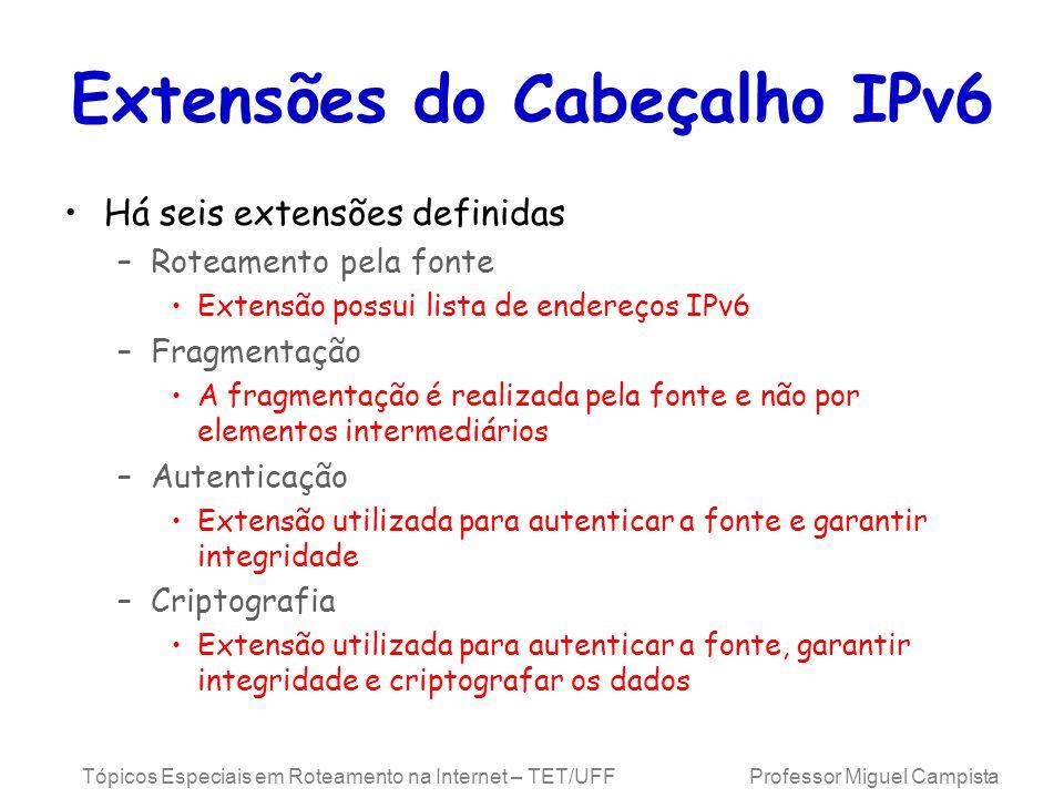 Extensões do Cabeçalho IPv6