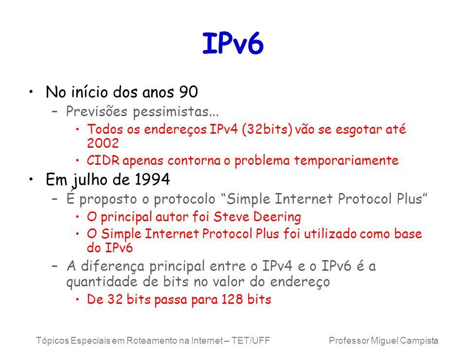 IPv6 No início dos anos 90 Em julho de 1994 Previsões pessimistas...