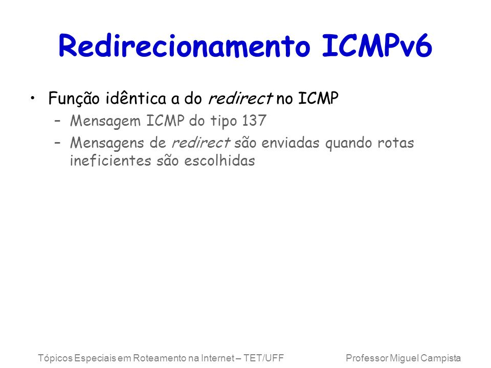 Redirecionamento ICMPv6