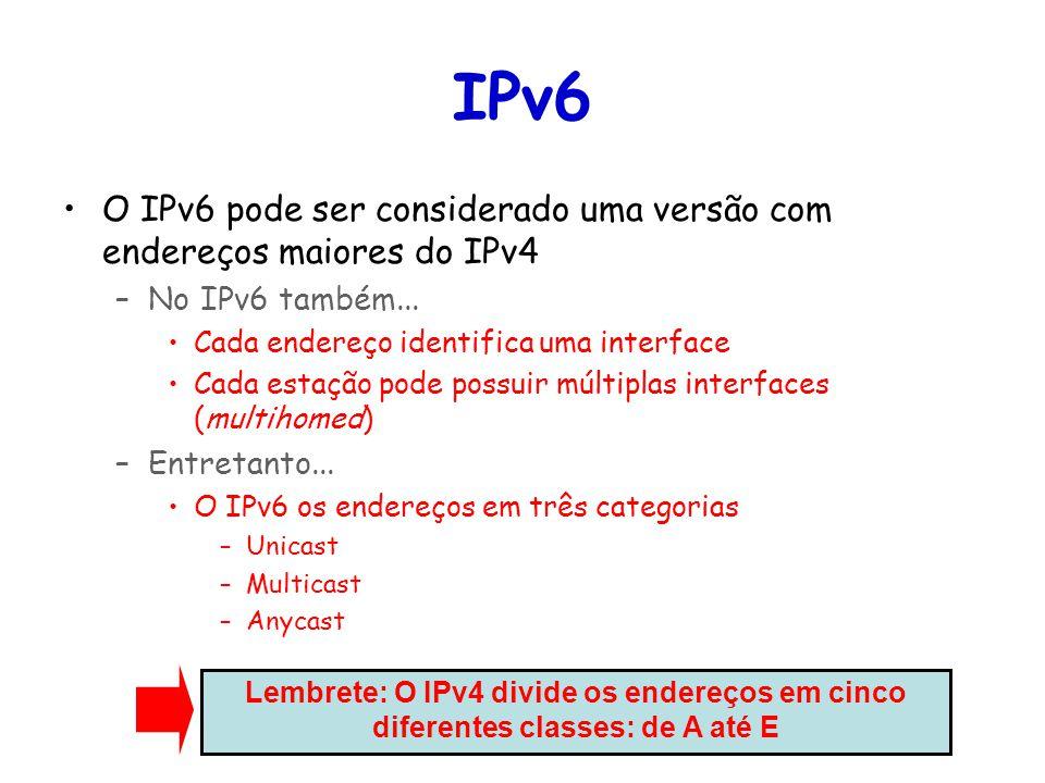 IPv6 O IPv6 pode ser considerado uma versão com endereços maiores do IPv4. No IPv6 também... Cada endereço identifica uma interface.