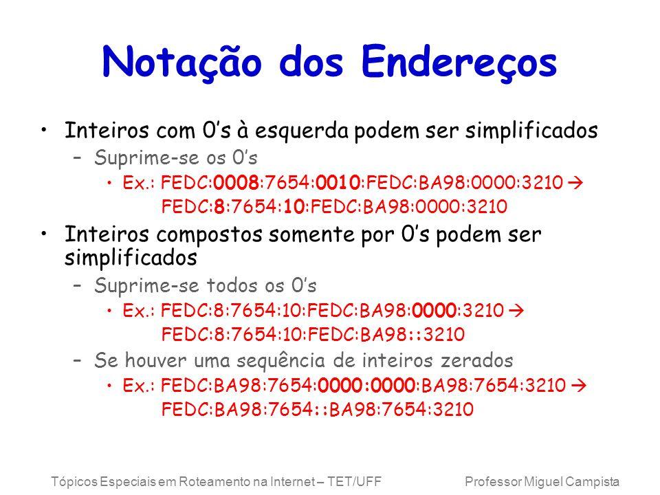 Notação dos Endereços Inteiros com 0's à esquerda podem ser simplificados. Suprime-se os 0's. Ex.: FEDC:0008:7654:0010:FEDC:BA98:0000:3210 