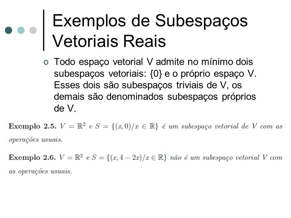 Exemplos de Subespaços Vetoriais Reais