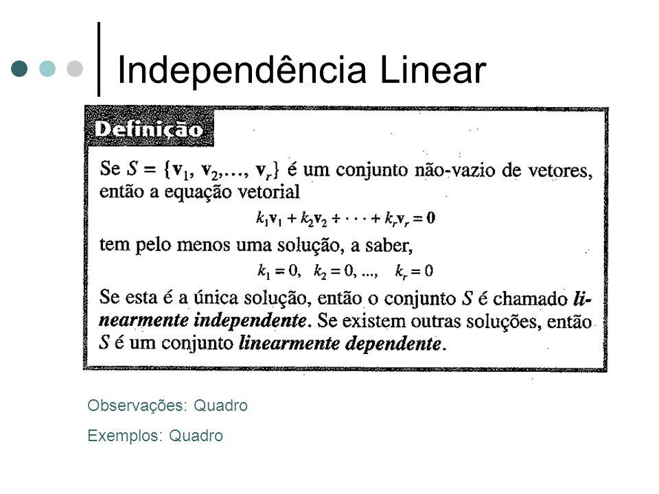 Independência Linear Observações: Quadro Exemplos: Quadro