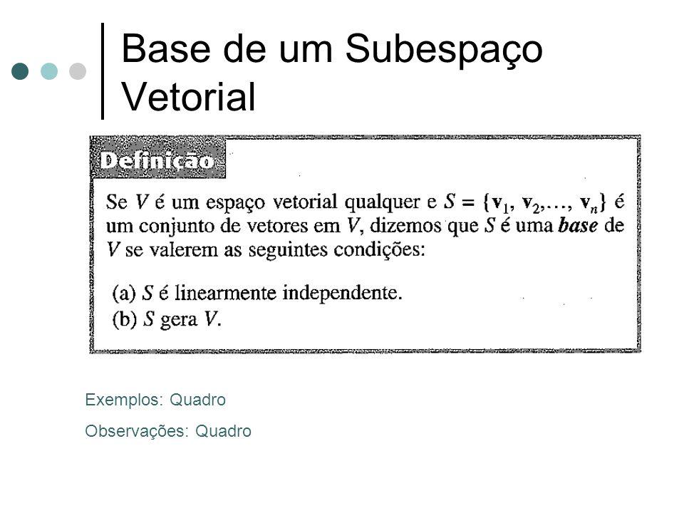 Base de um Subespaço Vetorial
