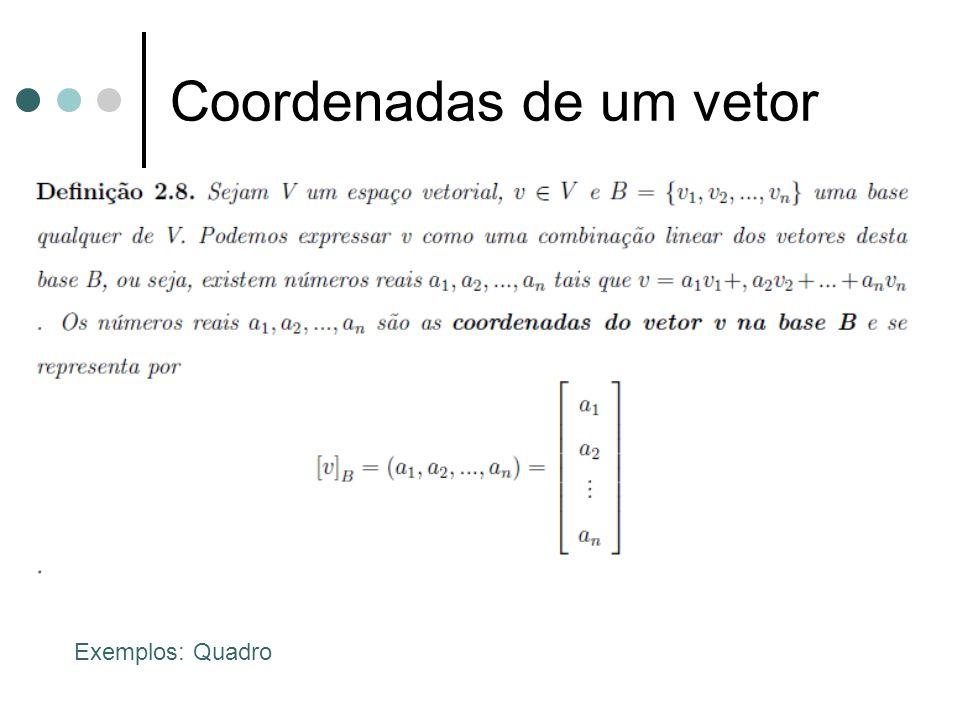 Coordenadas de um vetor