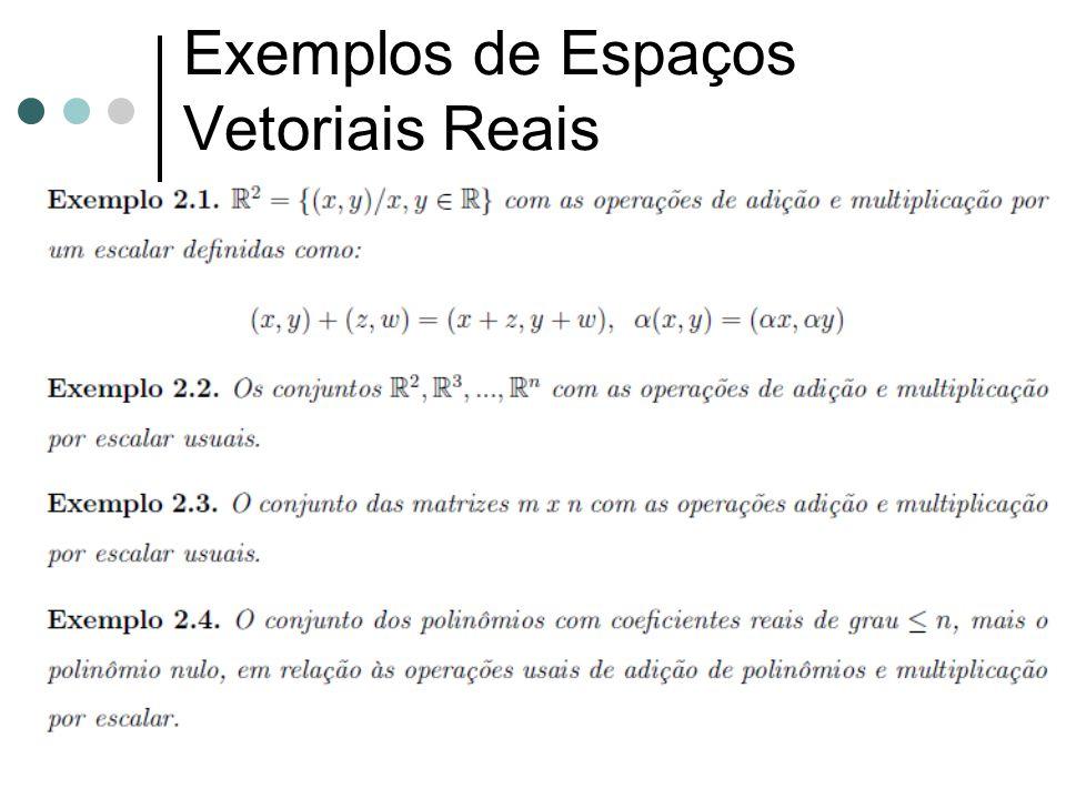 Exemplos de Espaços Vetoriais Reais