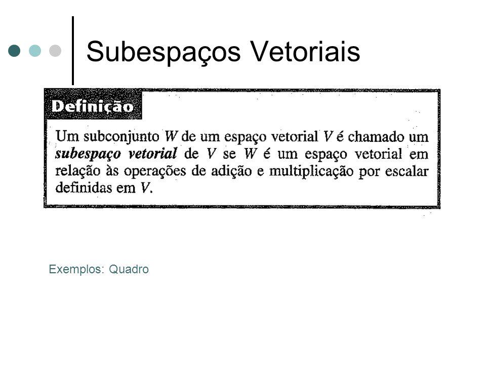 Subespaços Vetoriais Exemplos: Quadro