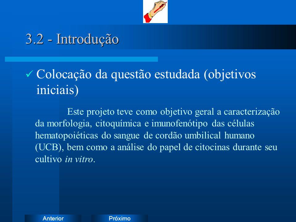 3.2 - Introdução Colocação da questão estudada (objetivos iniciais)