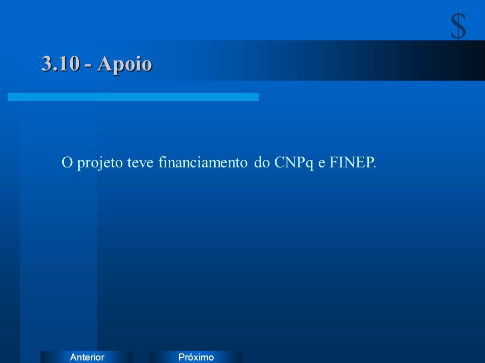 . 3.10 - Apoio O projeto teve financiamento do CNPq e FINEP.