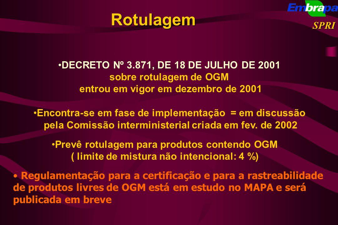 Rotulagem SPRI DECRETO Nº 3.871, DE 18 DE JULHO DE 2001