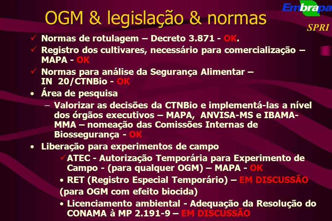 OGM & legislação & normas
