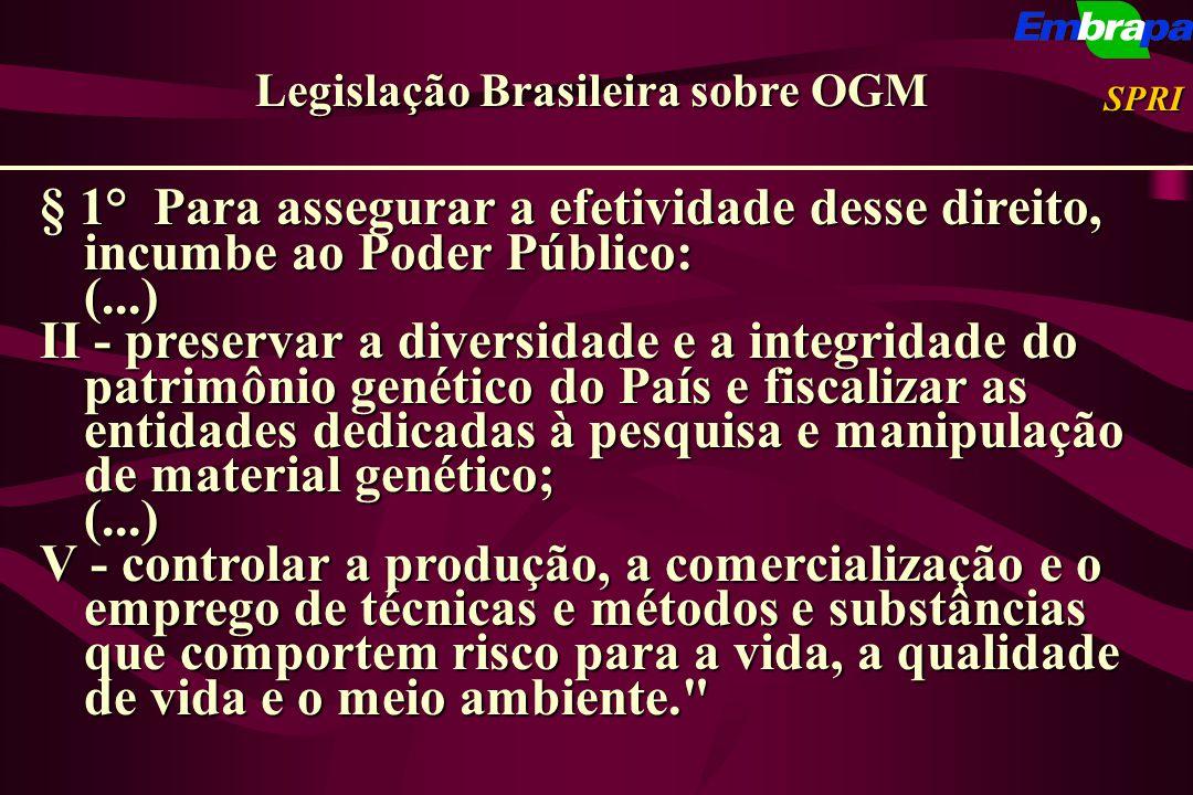 Legislação Brasileira sobre OGM