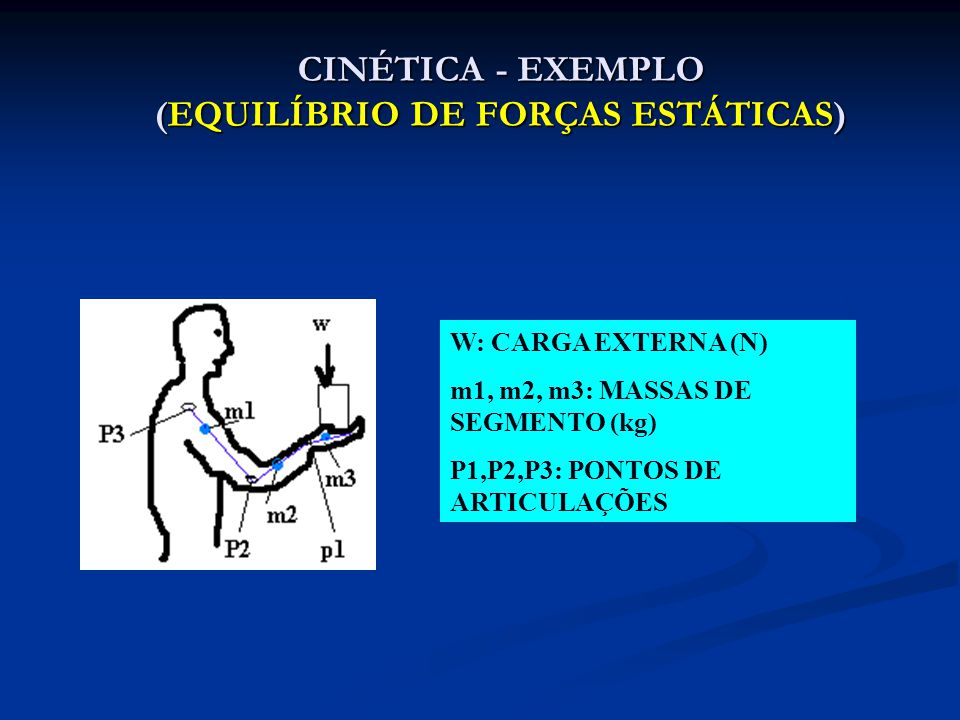 CINÉTICA - EXEMPLO (EQUILÍBRIO DE FORÇAS ESTÁTICAS)
