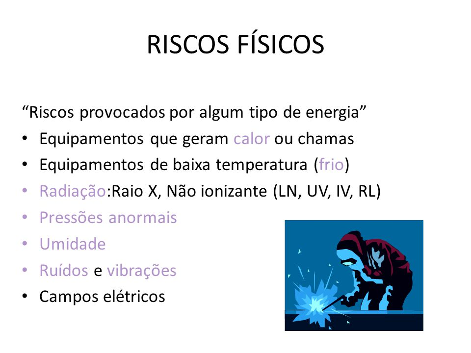 RISCOS FÍSICOS Riscos provocados por algum tipo de energia