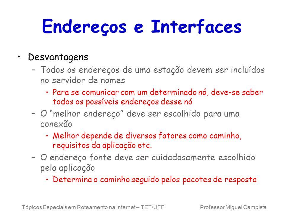 Endereços e Interfaces
