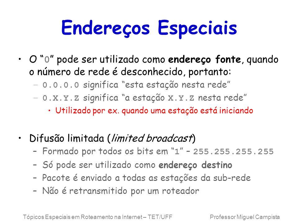 Endereços Especiais O 0 pode ser utilizado como endereço fonte, quando o número de rede é desconhecido, portanto: