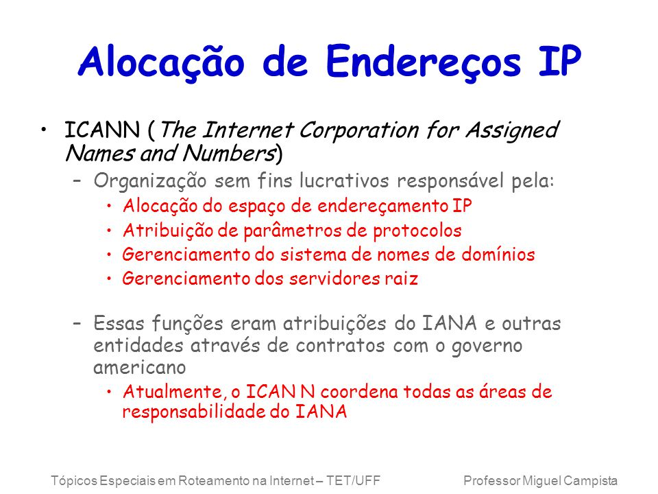 Alocação de Endereços IP