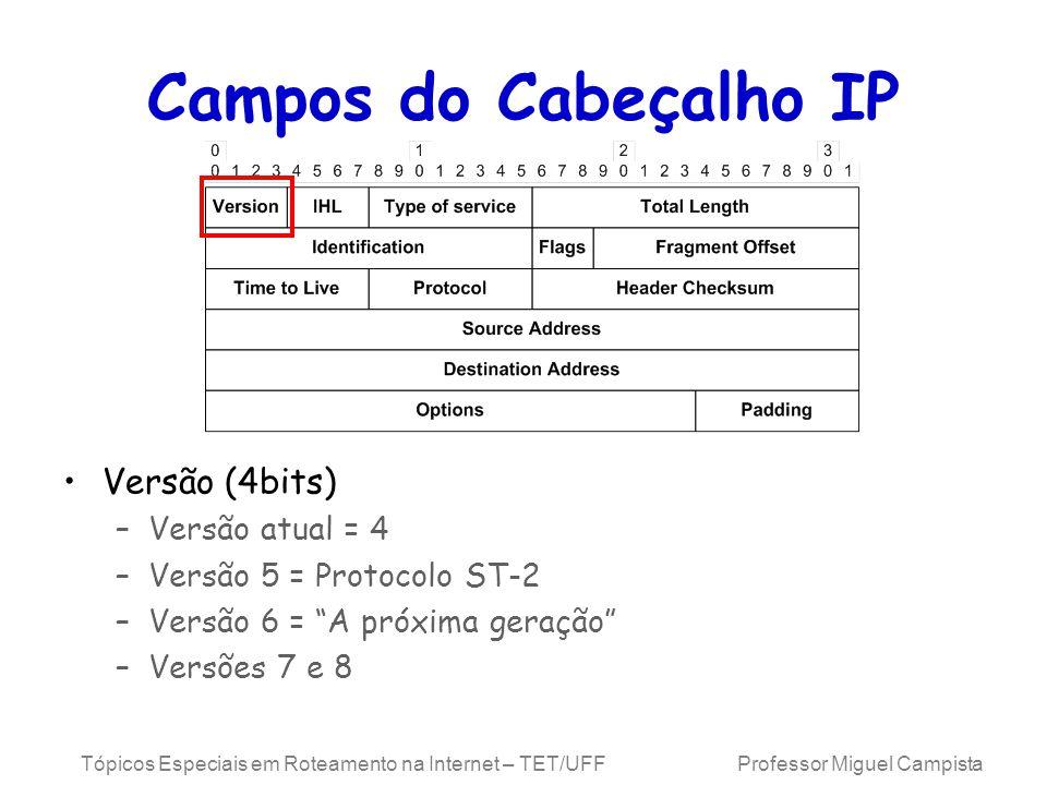 Campos do Cabeçalho IP Versão (4bits) Versão atual = 4