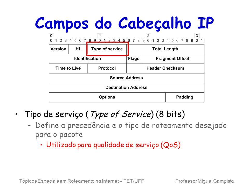 Campos do Cabeçalho IP Tipo de serviço (Type of Service) (8 bits)