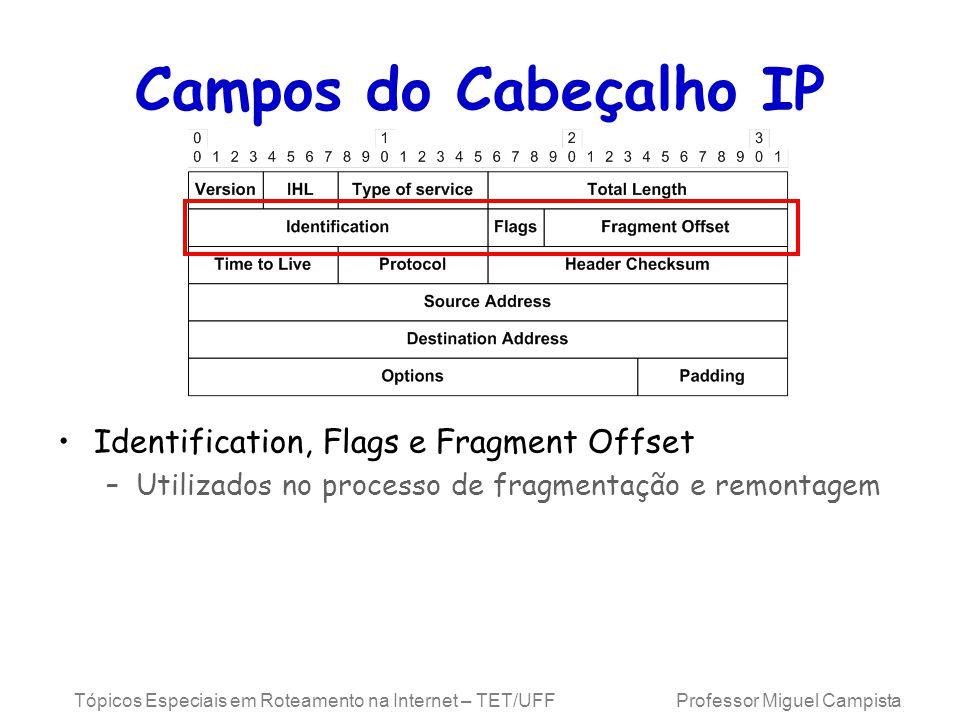 Campos do Cabeçalho IP Identification, Flags e Fragment Offset