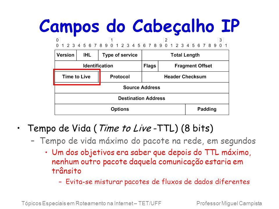 Campos do Cabeçalho IP Tempo de Vida (Time to Live -TTL) (8 bits)