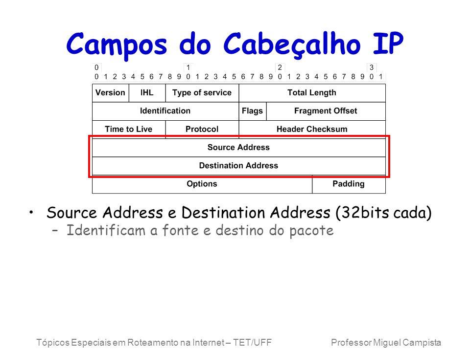 Campos do Cabeçalho IP Source Address e Destination Address (32bits cada) Identificam a fonte e destino do pacote.