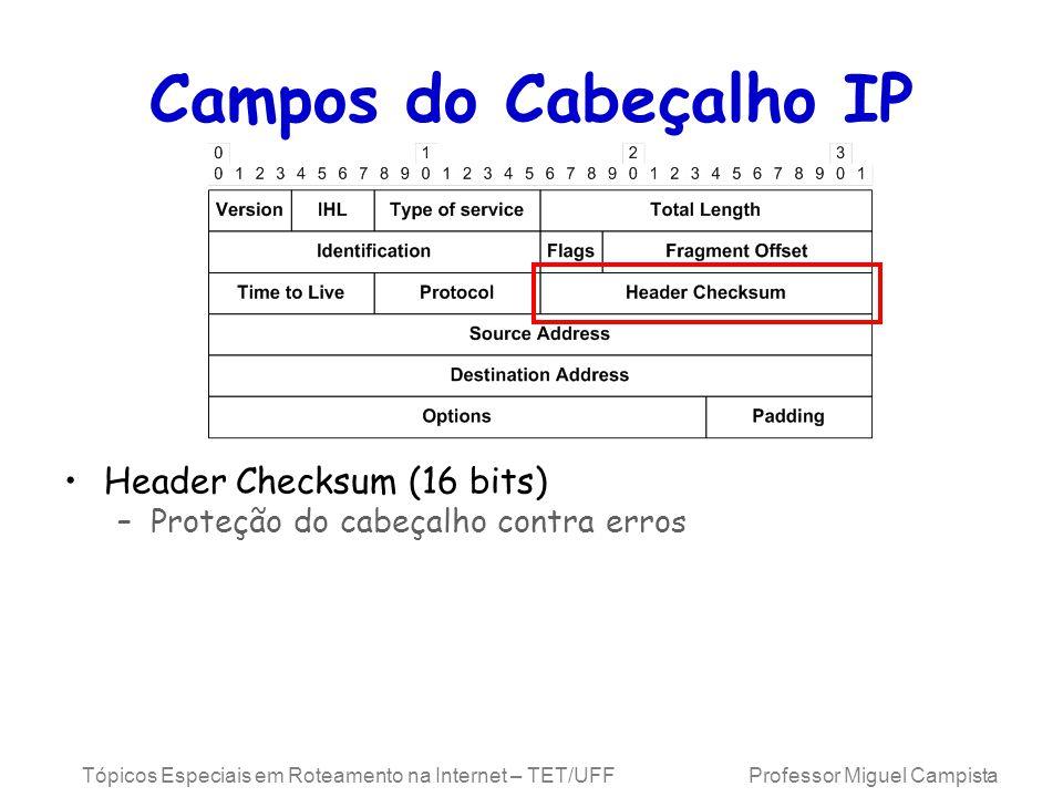 Campos do Cabeçalho IP Header Checksum (16 bits)