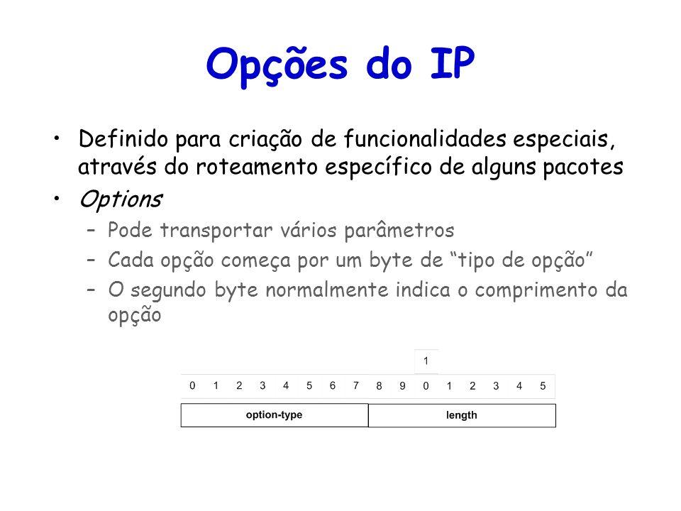 Opções do IP Definido para criação de funcionalidades especiais, através do roteamento específico de alguns pacotes.