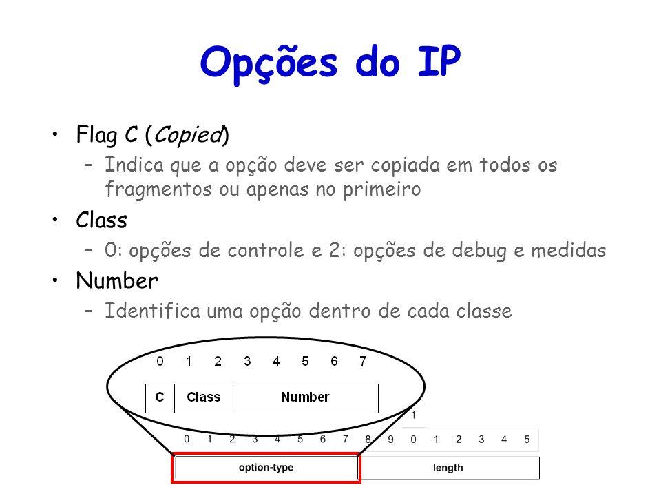 Opções do IP Flag C (Copied) Class Number