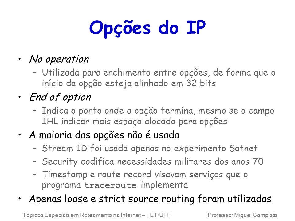Opções do IP No operation End of option