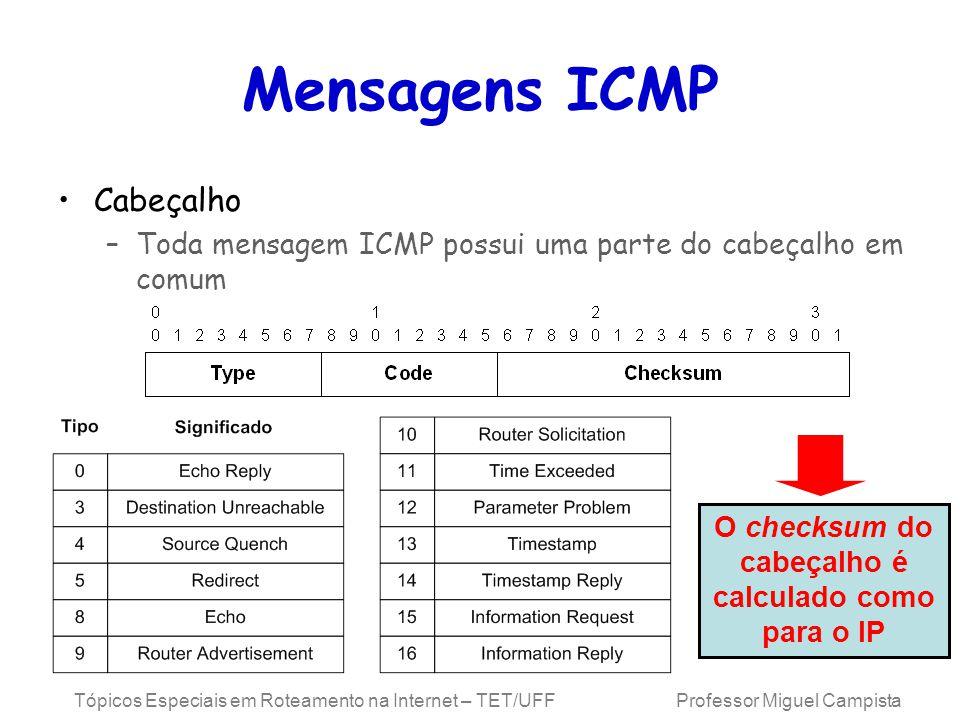 O checksum do cabeçalho é calculado como para o IP