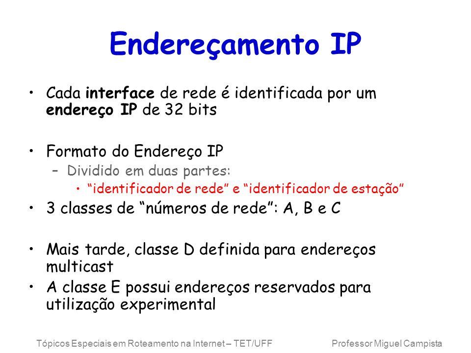 Endereçamento IP Cada interface de rede é identificada por um endereço IP de 32 bits. Formato do Endereço IP.
