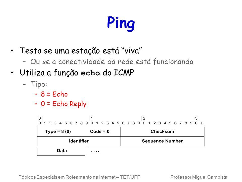 Ping Testa se uma estação está viva Utiliza a função echo do ICMP
