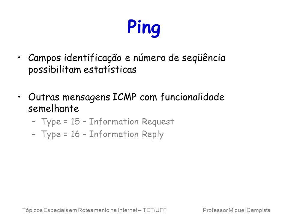 Ping Campos identificação e número de seqüência possibilitam estatísticas. Outras mensagens ICMP com funcionalidade semelhante.