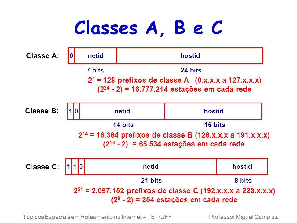 Classes A, B e C Classe A: netid. hostid. 7 bits. 24 bits. 27 = 128 prefixos de classe A (0.x.x.x a 127.x.x.x)