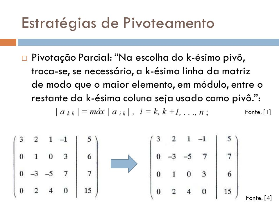Estratégias de Pivoteamento