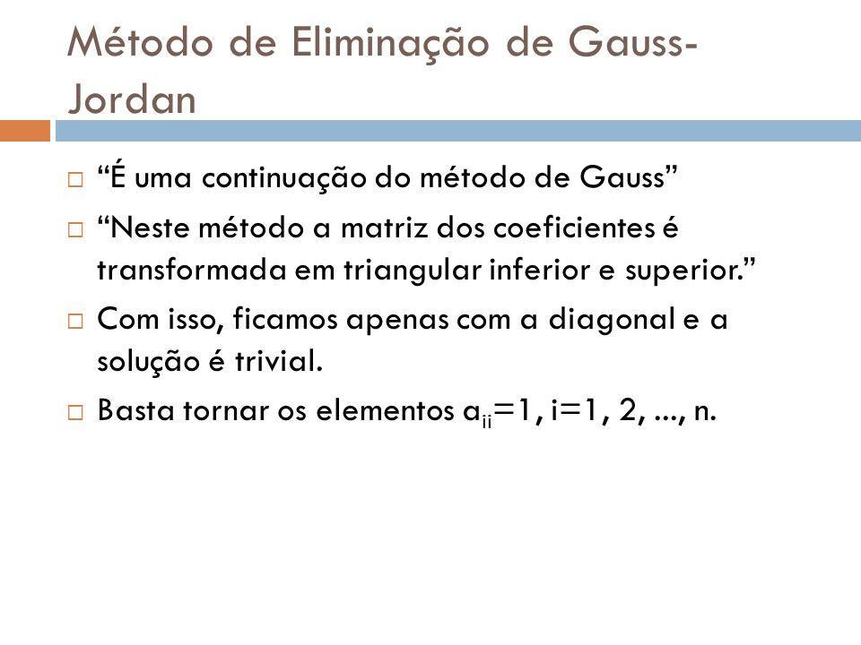 Método de Eliminação de Gauss-Jordan