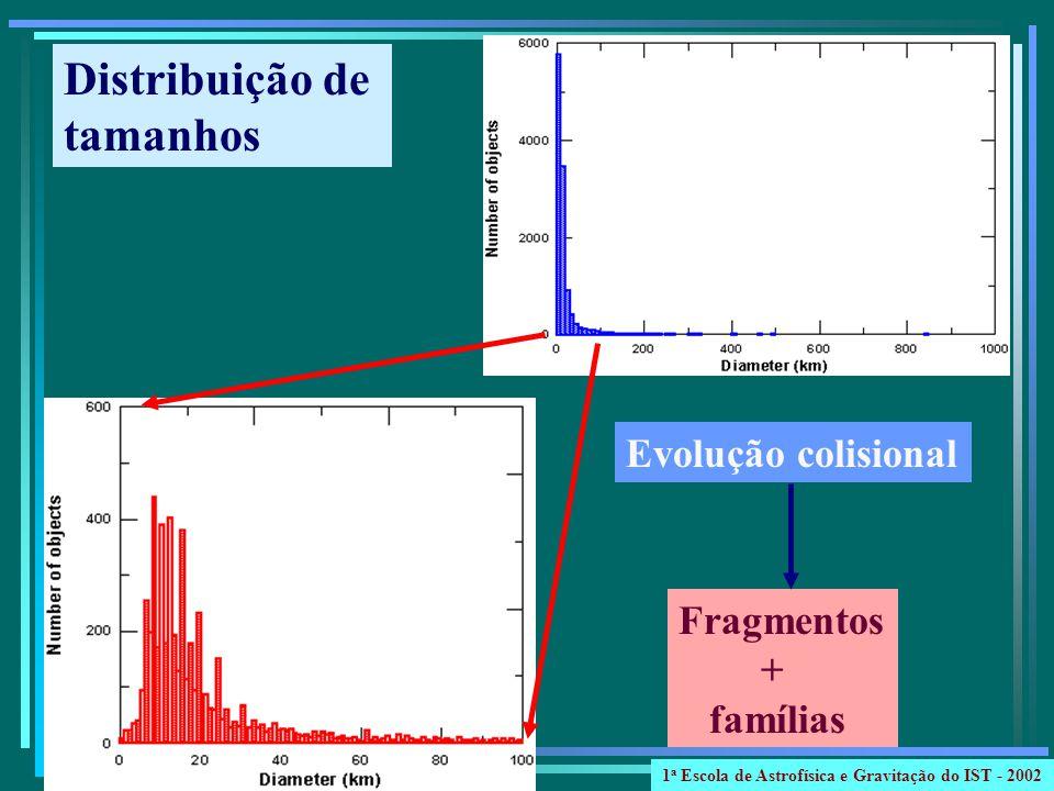 Distribuição de tamanhos Evolução colisional Fragmentos + famílias