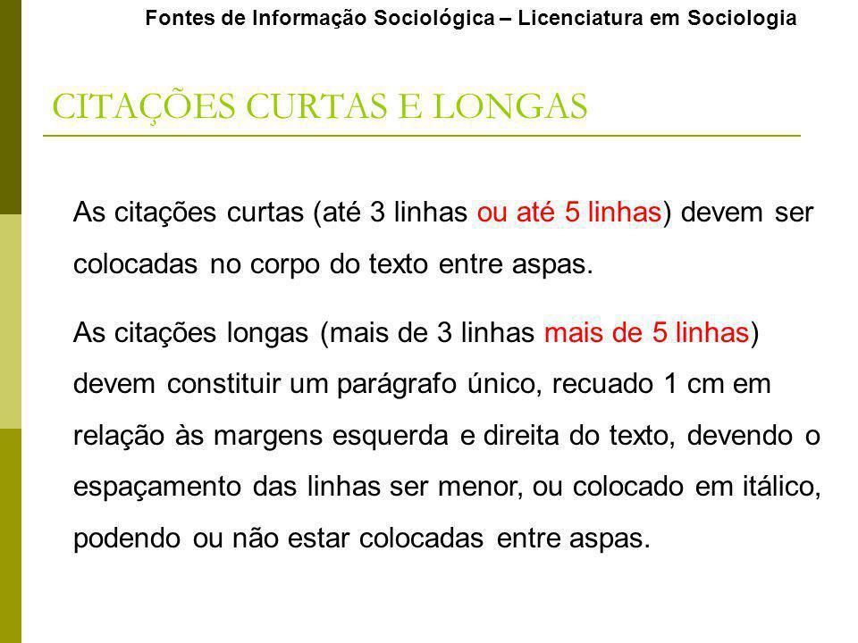 CITAÇÕES CURTAS E LONGAS