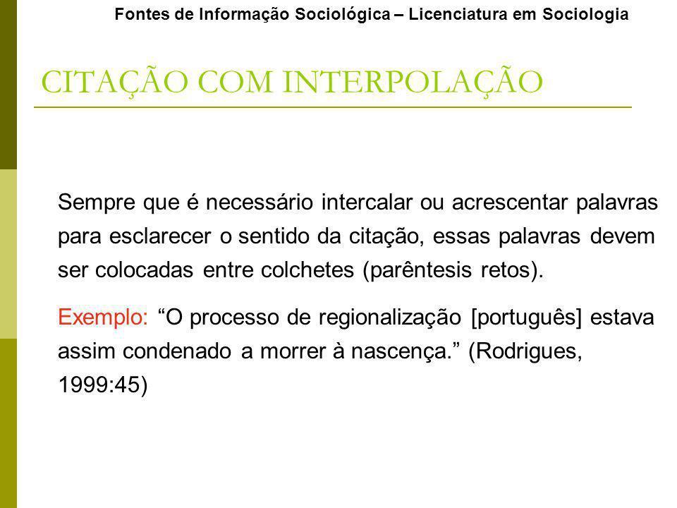 CITAÇÃO COM INTERPOLAÇÃO