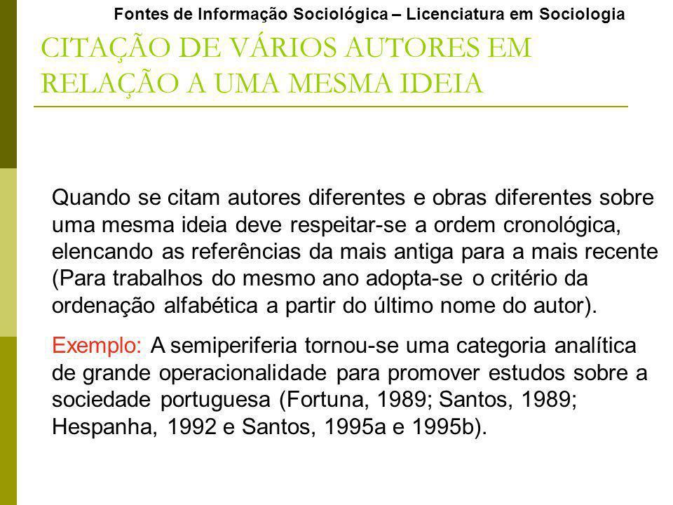 CITAÇÃO DE VÁRIOS AUTORES EM RELAÇÃO A UMA MESMA IDEIA