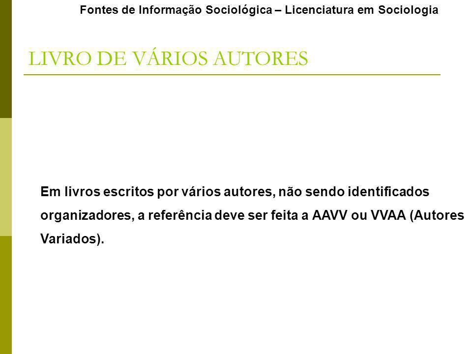 LIVRO DE VÁRIOS AUTORES