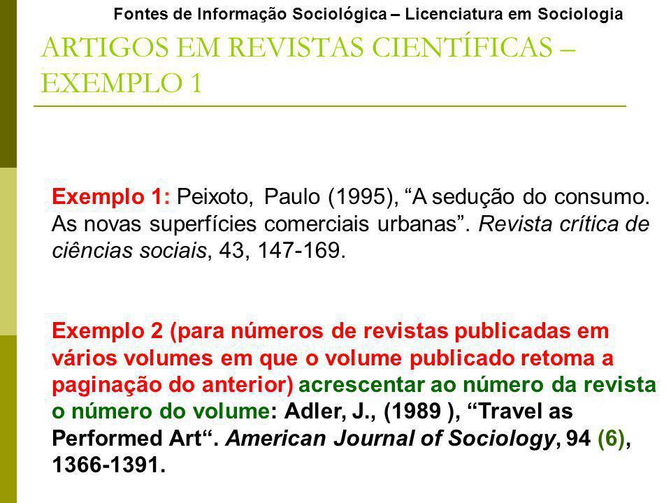 ARTIGOS EM REVISTAS CIENTÍFICAS – EXEMPLO 1