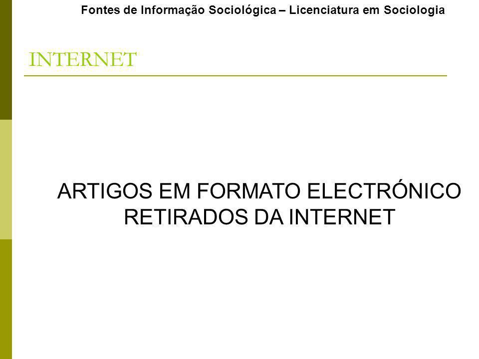 ARTIGOS EM FORMATO ELECTRÓNICO RETIRADOS DA INTERNET