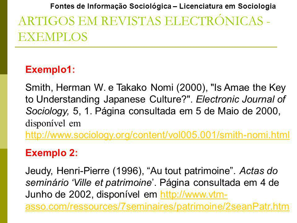ARTIGOS EM REVISTAS ELECTRÓNICAS - EXEMPLOS