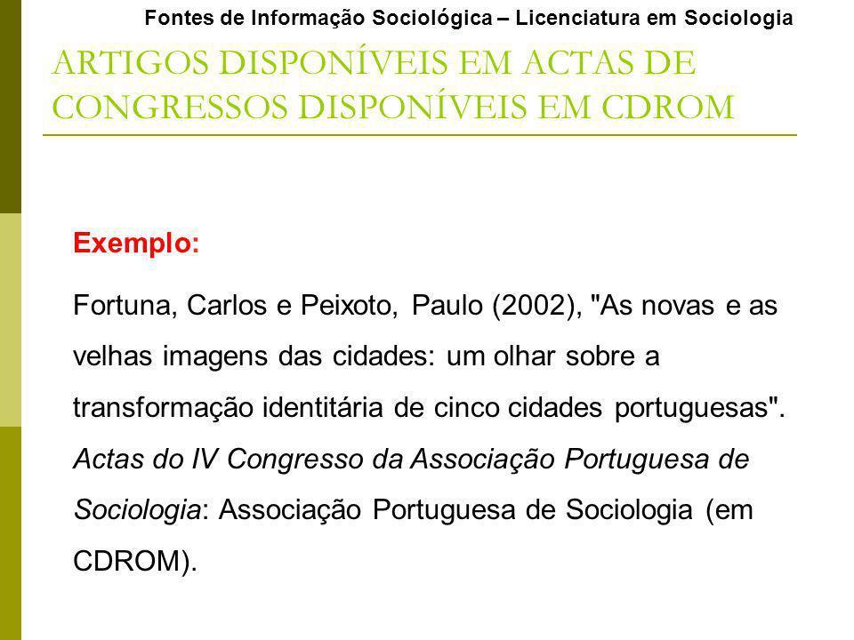 ARTIGOS DISPONÍVEIS EM ACTAS DE CONGRESSOS DISPONÍVEIS EM CDROM