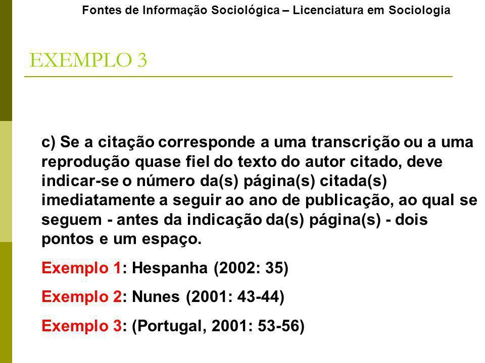 Fontes de Informação Sociológica – Licenciatura em Sociologia